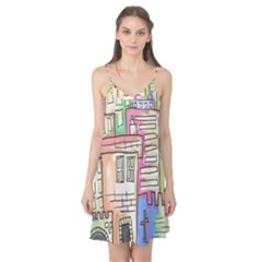 A Village Drawn In A Doodle Style Camis Nightgown