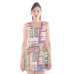 A Village Drawn In A Doodle Style Scoop Neck Skater Dress