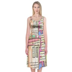 A Village Drawn In A Doodle Style Midi Sleeveless Dress