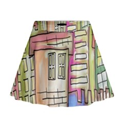 A Village Drawn In A Doodle Style Mini Flare Skirt