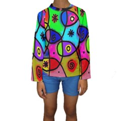 Digitally Painted Colourful Abstract Whimsical Shape Pattern Kids  Long Sleeve Swimwear