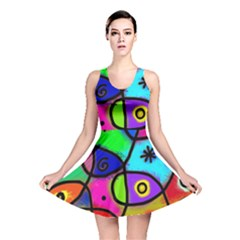Digitally Painted Colourful Abstract Whimsical Shape Pattern Reversible Skater Dress
