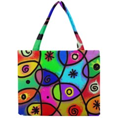 Digitally Painted Colourful Abstract Whimsical Shape Pattern Mini Tote Bag