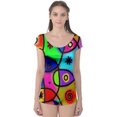 Digitally Painted Colourful Abstract Whimsical Shape Pattern Boyleg Leotard