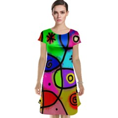 Digitally Painted Colourful Abstract Whimsical Shape Pattern Cap Sleeve Nightdress
