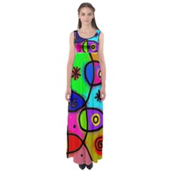 Digitally Painted Colourful Abstract Whimsical Shape Pattern Empire Waist Maxi Dress