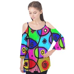 Digitally Painted Colourful Abstract Whimsical Shape Pattern Flutter Tees