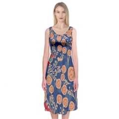 Floral Seamless Pattern Vector Texture Midi Sleeveless Dress