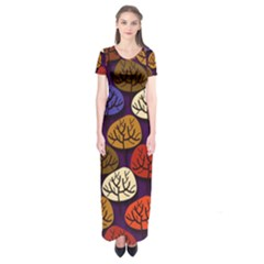 Colorful Trees Background Pattern Short Sleeve Maxi Dress