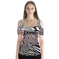 Abstract Fauna Pattern When Zebra And Giraffe Melt Together Butterfly Sleeve Cutout Tee