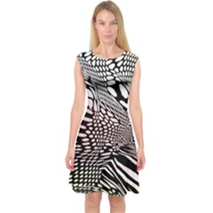 Abstract Fauna Pattern When Zebra And Giraffe Melt Together Capsleeve Midi Dress