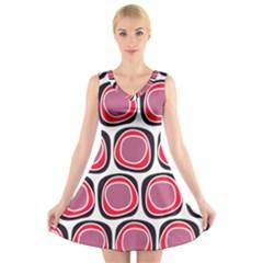 Wheel Stones Pink Pattern Abstract Background V-Neck Sleeveless Skater Dress