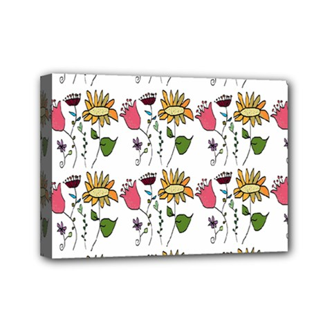 Handmade Pattern With Crazy Flowers Mini Canvas 7  x 5