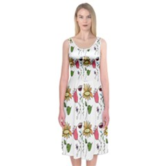 Handmade Pattern With Crazy Flowers Midi Sleeveless Dress