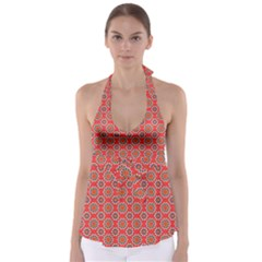 Floral Seamless Pattern Vector Babydoll Tankini Top