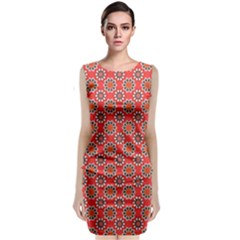 Floral Seamless Pattern Vector Classic Sleeveless Midi Dress