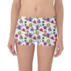 Cute Doodle Wallpaper Pattern Boyleg Bikini Bottoms