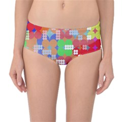 Abstract Polka Dot Pattern Mid-Waist Bikini Bottoms