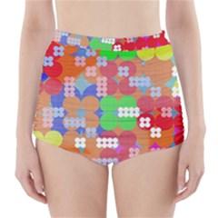 Abstract Polka Dot Pattern High-Waisted Bikini Bottoms