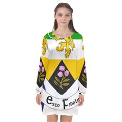 County Offaly Coat Of Arms  Long Sleeve Chiffon Shift Dress