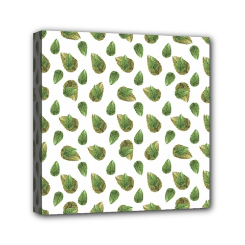 Leaves Motif Nature Pattern Mini Canvas 6  x 6