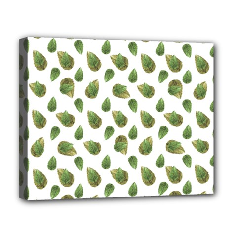 Leaves Motif Nature Pattern Deluxe Canvas 20  x 16