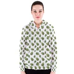 Leaves Motif Nature Pattern Women s Zipper Hoodie