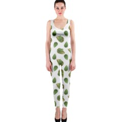 Leaves Motif Nature Pattern OnePiece Catsuit