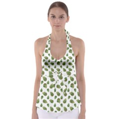 Leaves Motif Nature Pattern Babydoll Tankini Top