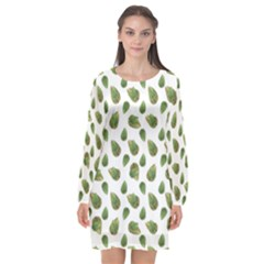 Leaves Motif Nature Pattern Long Sleeve Chiffon Shift Dress