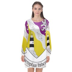 County Wexford Coat of Arms  Long Sleeve Chiffon Shift Dress