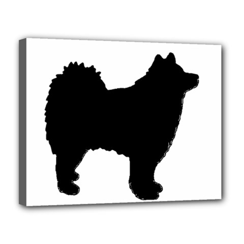 Finnish Lapphund Silhouette Black Canvas 14  x 11