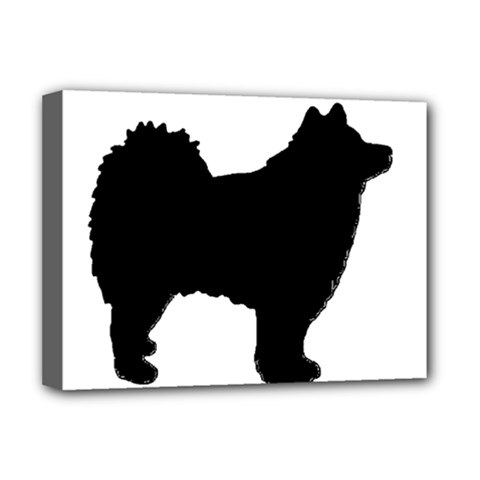 Finnish Lapphund Silhouette Black Deluxe Canvas 16  x 12