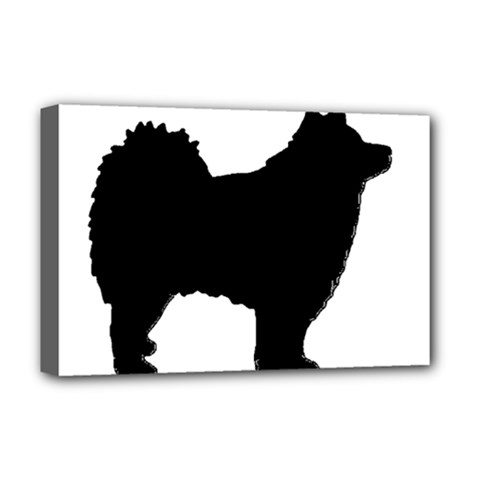 Finnish Lapphund Silhouette Black Deluxe Canvas 18  x 12