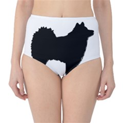 Finnish Lapphund Silhouette Black High-Waist Bikini Bottoms