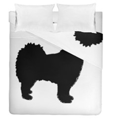Finnish Lapphund Silhouette Black Duvet Cover Double Side (Queen Size)