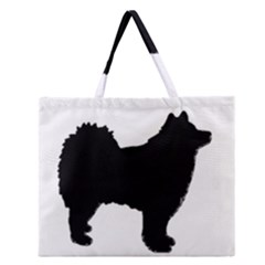 Finnish Lapphund Silhouette Black Zipper Large Tote Bag