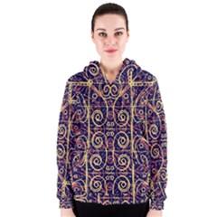 Tribal Ornate Pattern Women s Zipper Hoodie