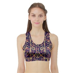 Tribal Ornate Pattern Sports Bra with Border