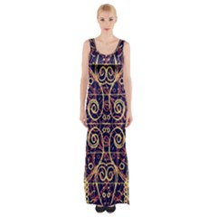 Tribal Ornate Pattern Maxi Thigh Split Dress