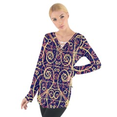 Tribal Ornate Pattern Women s Tie Up Tee