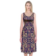 Tribal Ornate Pattern Midi Sleeveless Dress