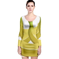 Banana Long Sleeve Bodycon Dress