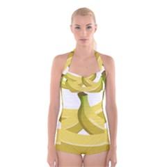 Banana Boyleg Halter Swimsuit