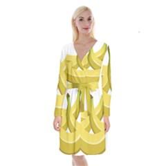 Banana Long Sleeve Velvet Front Wrap Dress