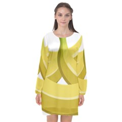 Banana Long Sleeve Chiffon Shift Dress