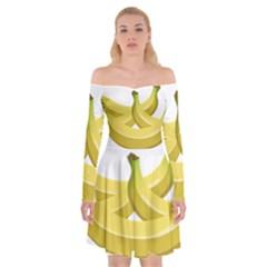 Banana Off Shoulder Skater Dress