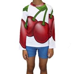 Cherries Kids  Long Sleeve Swimwear
