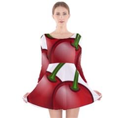 Cherries Long Sleeve Velvet Skater Dress