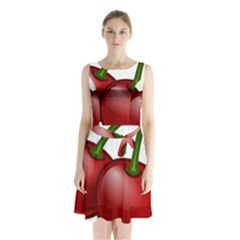 Cherries Sleeveless Waist Tie Chiffon Dress